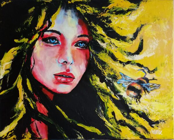 mixed media portrait with bee