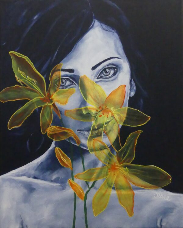 Contemporary portrait with flower
