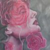 Acrylic on canvas expressive portrait and roses
