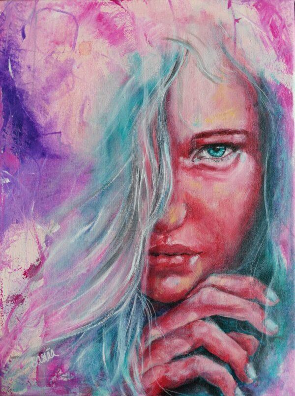 Rose quartz inspired portrait