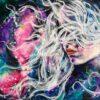 Mixed media portrait on canvas whisper of ancient secrets